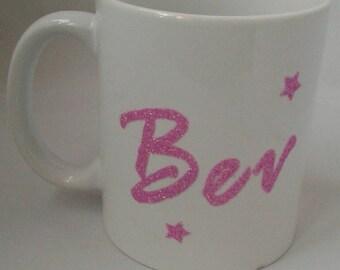Personalised name Barbie style glitter vinyl mug/Latte mug