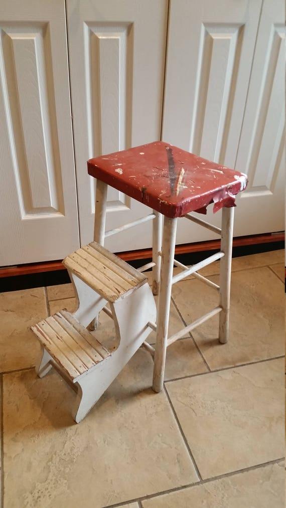 Marvelous Vintage Wooden Step Stool Folding Stairs Seat Ibusinesslaw Wood Chair Design Ideas Ibusinesslaworg