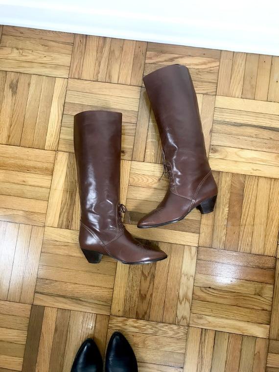 Size 8 True Vintage Genuine Leather Knee High Ridi