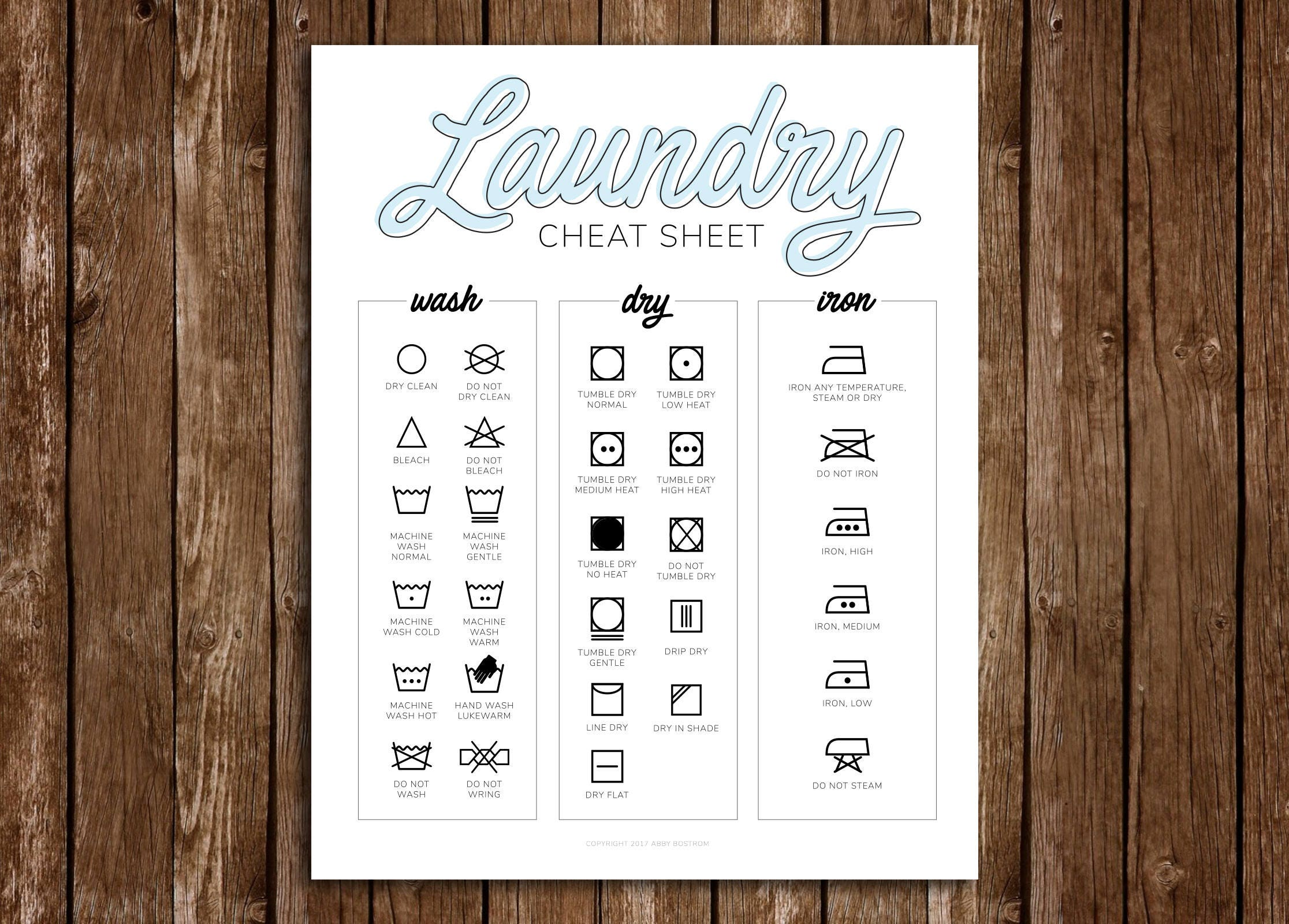 Laundry Cheat Sheet Guide Print At Home Laundry Room Laundry Room Decor Laundry Help College Student Diy Printable Pdf