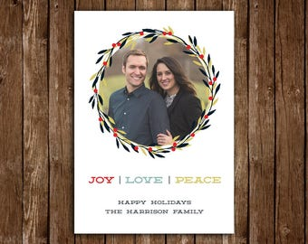 Joy Love Peace Christmas/Holiday Card, Simple Minimalist Contemporary Christmas Card - DIY Printable JPEG