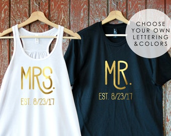 Just Married Shirts. Newlywed Shirts. Mr and Mrs Shirts. Honeymoon Shirts. Bride and Groom Shirts. Wedding Date. Bridal Shower Gift. XgZCKQ