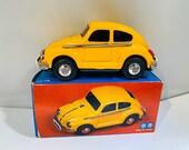Vintage Yellow Tin Friction VW Beetle Toy MF 146 MIB