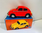 Vintage Red Tin Friction VW Beetle Toy MF 146 MIB