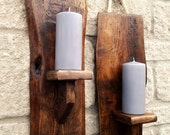 1 Handmade reclaimed rustic vintage style wooden walnut wood wall mounted pillar sconce candle holder. Cozy home decor. different tones