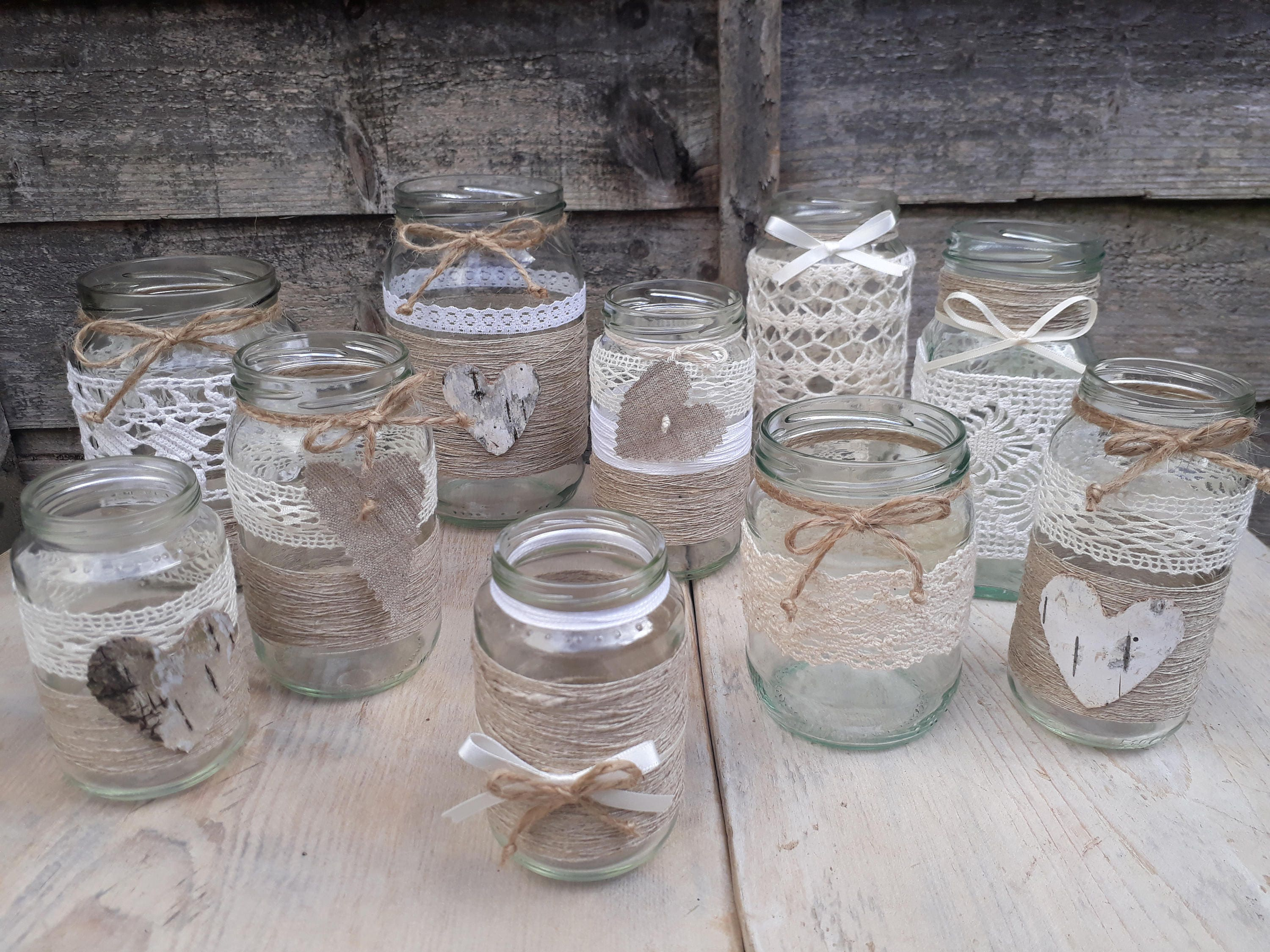 14 Rustic Vintage Wedding Lights Handmade Glass Linnen Jars Etsy