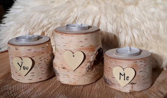 Custom Initial Heart Real Log Wood Tea Light Candle Holder Set