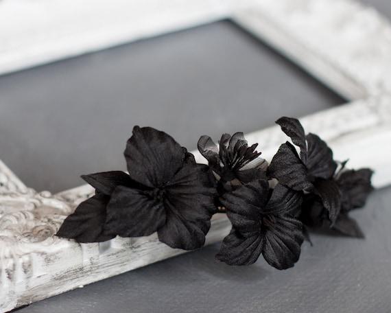 Black flower barrette hair clip black silk flowers barrette etsy image 0 mightylinksfo
