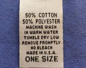 50Pcs Woven Clothing Garment Care Label 50/% Cotton 50/% Polyester USA ONE SIZE