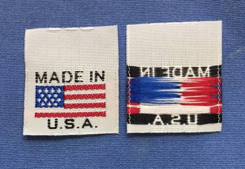 MADE IN U.S.A 50 WHITE WOVEN CLOTHING LABELS AMERICAN FLAG
