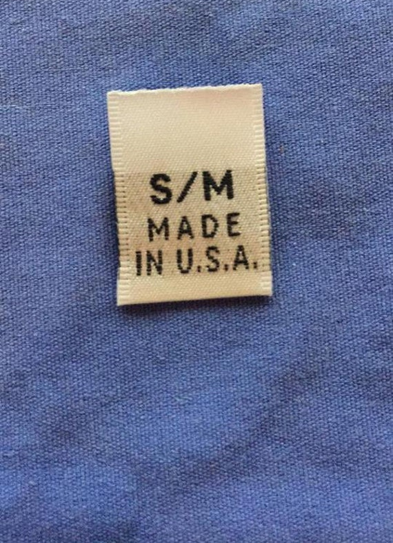 50Pcs White Woven Clothing Size Tab Labels Made In U.S.A SIZE M MEDIUM