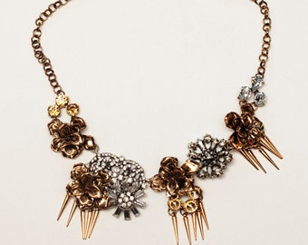 Statement Necklace Vintage Inspired Gold, Crystal, Chunky Necklace, Trendy Necklace, Bib Necklace