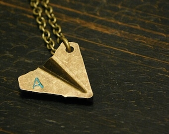 Paper Airplane Initial Necklace