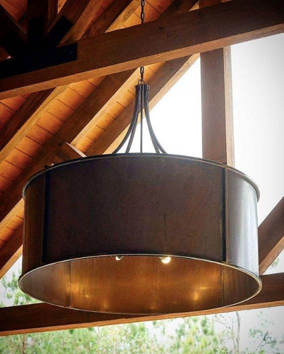 Drum Copper Chandelier Pendant Light Copper Light Fixture Rustic Light Kitchen Island Light Antique Vintage Light Half Moon Bay