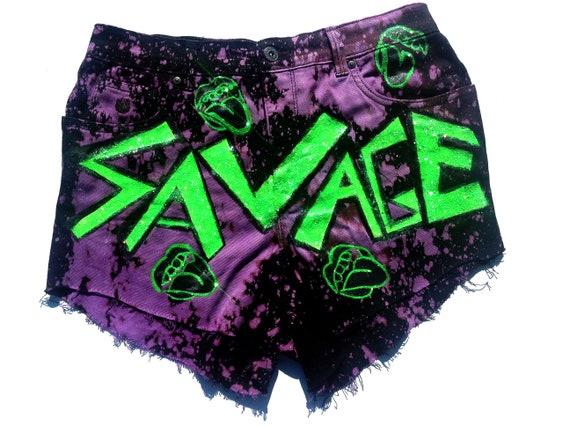 High Waist Vintage Jean Gloria Vanderbilt Distressed SAVAGE Streetwear High Waisted Shorts Size 8 Purple Frayed