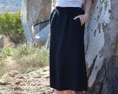 Vintage Jaeger Mohair Small Wool Blend Black Pencil Skirt