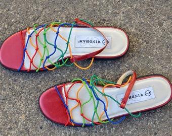 de9e0494dad7 90s Rainbow Strappy Slingback Sandals