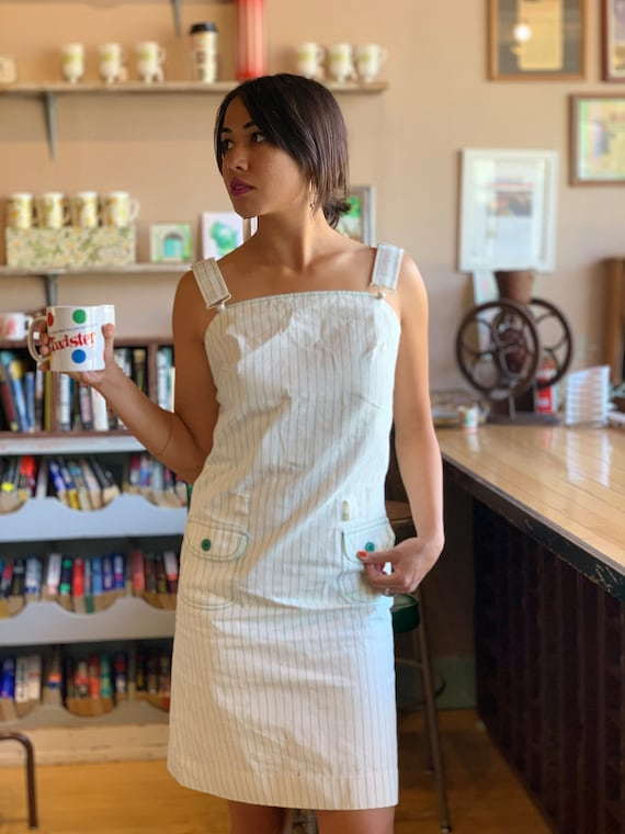 60s/70s Mod Denim Overall Dress, Suspender, Pin St