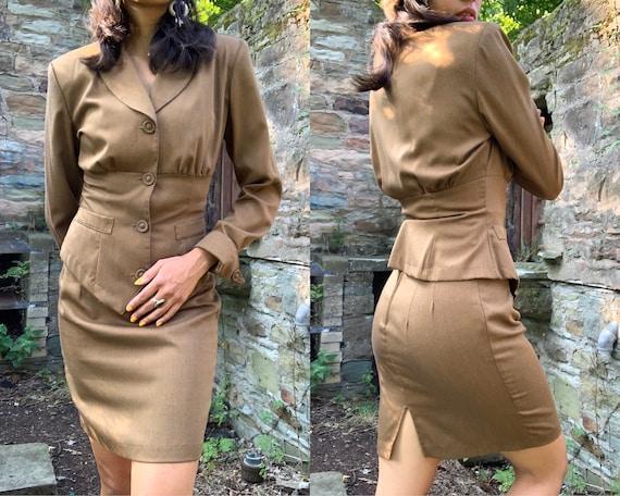 80s does 40s Military Skirt Suit, 40s Skirt Set, J