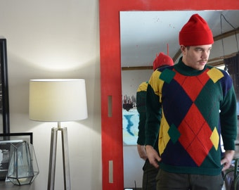 1980s Colorful Argyle Turtleneck Sweater//100% Virgin Wool