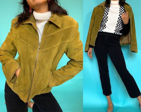 90s does 70s Moss Green Suede Jacket, Moto Babe Mi