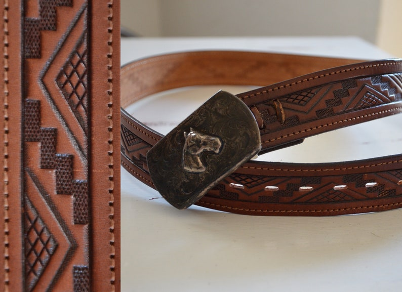 1989b42b1c9b34 Vintage Southwestern Hand Tooled Leather Belt and Horse