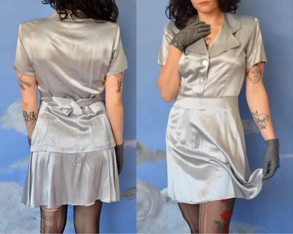 90s Metallic Shiny Two Piece, Liquid Silver Short