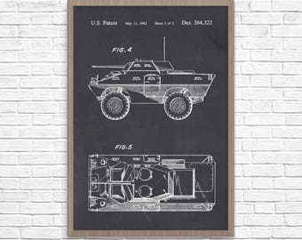 Car blueprint etsy more colours armored car poster malvernweather Gallery