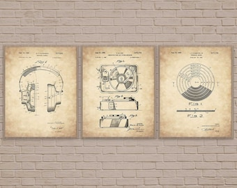 Dj Art Gift Music Lover Turntable Prints Set Of 3 Vinyl For Musician