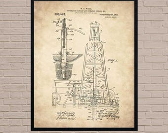 Oil rig patent etsy oil derrick oil well rig industrial art texas art oil worker malvernweather Image collections