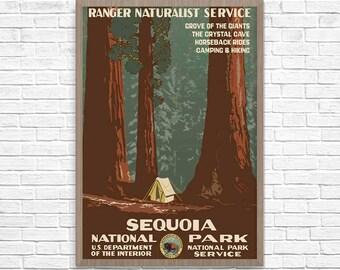 REDWOODS National Park Poster, Vintage Sequoia Travel Poster, Vintage California Travel Poster, Travel Print, Wall Art