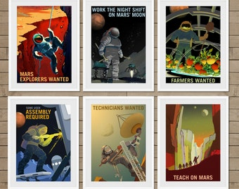 Mars, martian, mars poster, mars art print, explore mars, explorers wanted, mars explorers, mars decor, explorers, mars travel, set of 6