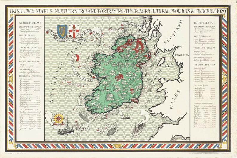 Ireland Map Vintage Maps Irish Map Irish Free State Etsy