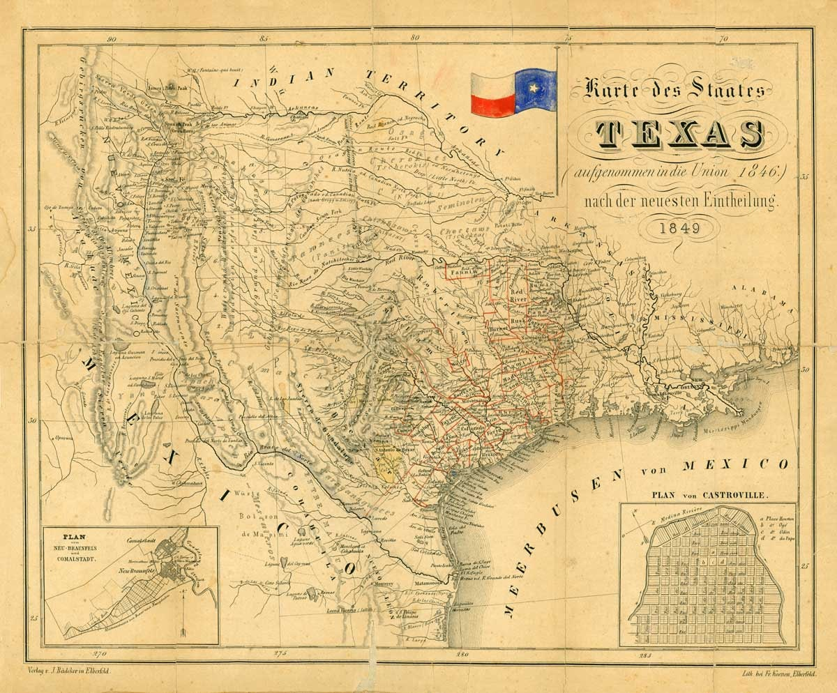 Full Map Of Texas.Texas Map Map Of Texas 1849 Restoration Hardware Style Old Etsy