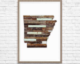 ARKANSAS Silhouette Custom State Map Art Print, Arkansas State Art, State Map of Arkansas, State Art, Map Art, Wall Art, Home Decor