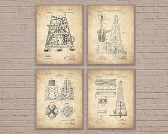 Blueprint art etsy oil rig set of 4 industrial art texas art oil derrick malvernweather Image collections