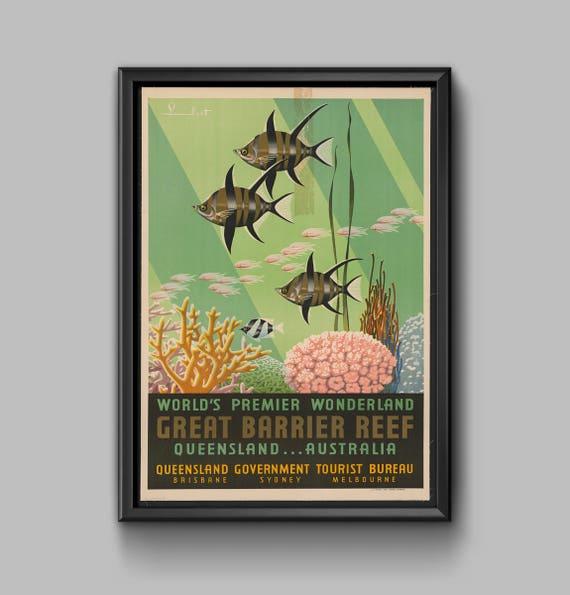 Wielka Rafa Koralowa Australia Plakat Podróży Queensland Australia Plakat Vintage Australia Wystrój Wnętrz Travel Poland