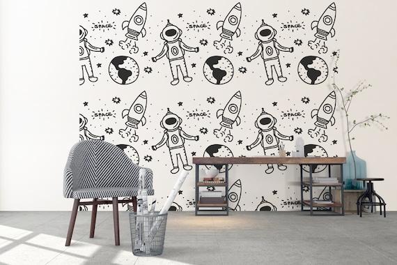Space Kids Boys Room Nursery Pattern Seamless Kids Room Wall Etsy