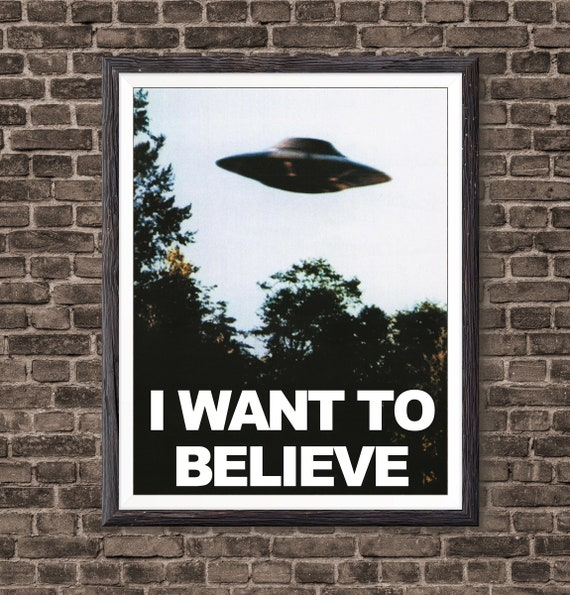 VINTAGE X-FILES I WANT TO BELIEVE UFO POSTER 24x36