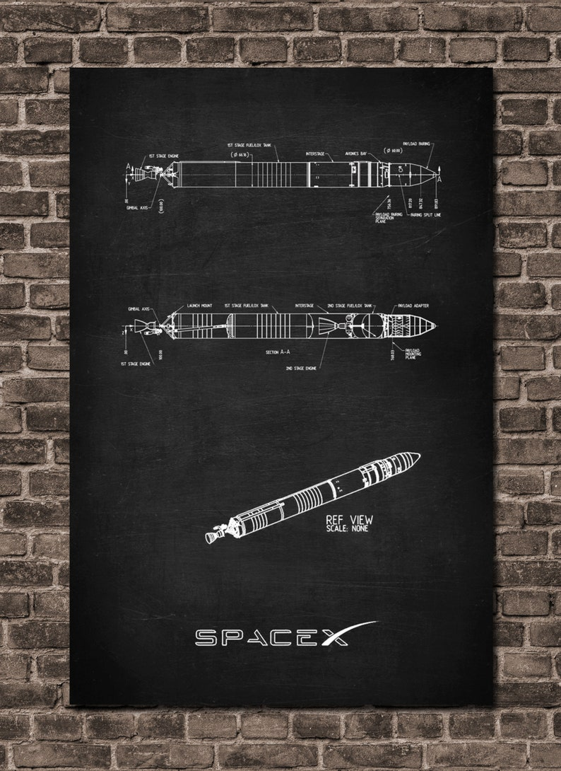 bf305e2a99d SpaceX Patent Prints Poster Falcon 1 Spacex wall art Falcon