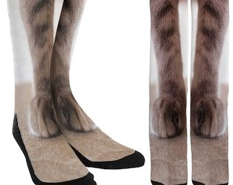 MXECO Womens Men Unisex Adult Animal Paw Feet Crew Socks Sublimated Print Novelty Funny 3D Print Adult Socks Cosplay