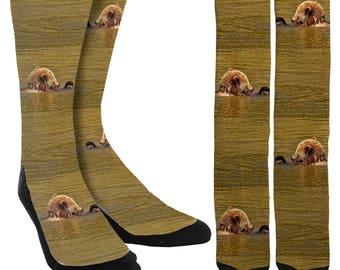 Giraffe Print Socks Crew Socks Crazy Socks Funny Socks Etsy