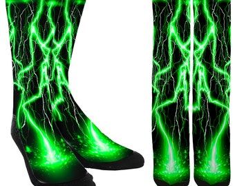 6db2c5faa Green Lightning Crew Socks -Lightning Bolt Socks -Green High Socks -Unique  Socks -Novelty Socks -Cool Socks -100% Comfort -FREE Shipping D28