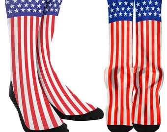 2139d1466e0 Fourth of July Socks - American Flag USA Socks - American Flag Socks - 4 of  July Clothing -Novelty Socks - 100% Comfort - FREE Shipping E10