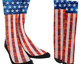 f9d01101e6e70f American Flag Socks - USA Clothing - Fourth of July Socks - Womens USA  Clothing - Mens America Clothing - 100% Comfort - FREE Shipping C53