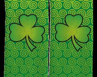 Saint Patricks Day Socks - Green Clover Socks - Crew Socks-St Paddys Day Socks-St Pattys Day Socks-Clothing-100% Comfort - FREE Shipping E09