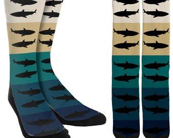 Shark Crew Socks - Sharks - Novelty Socks - Unique Socks - Crazy Socks - Mens Socks - Womens Socks - Beachwear -Clothing - FREE Shipping A27