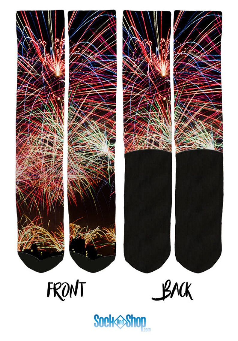 FREE Shipping A84 Unique Socks Novelty Socks Fireworks Crew Socks 100/% Comfort Cool Socks Fireworks Crew Socks 4 of July