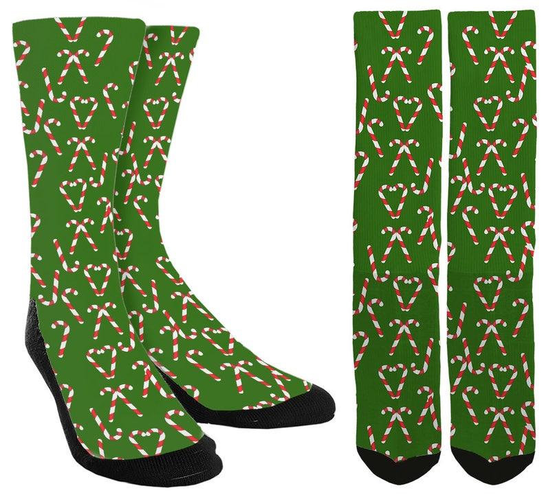 Christmas Socks Candy Cane Crew Socks Socks for Christmas -Holiday Socks -Santa Socks -Unique Socks Novelty Socks FREE Shipping D51
