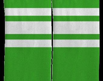 Green Striped Crew Socks - Striped Socks - Green High Socks - Green Socks - Mens Clothing -Womens Clothing -100% Comfort - FREE Shipping E43